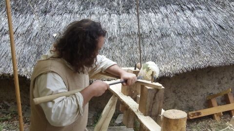 Ian making a wooden bowl