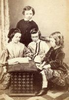 David (standing), aged about 7, with his sister Ethel (left) and two brothers (Edmund and Arthur), photographed in Cardiff in about 1865.