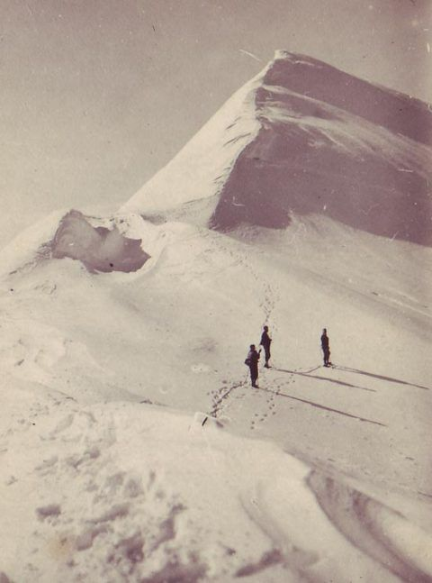 Dilwyn John (on right) on John Peaks (415 metres), named after him on Powell Island, South Orkney Islands, 1933.