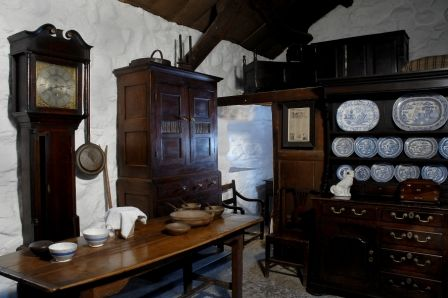 Interior views of Llainfadyn Cottage at St Fagans National History Museum