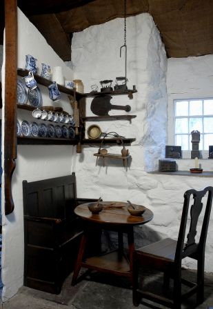 Interior view of Llainfadyn Cottage at St Fagans National History Museum