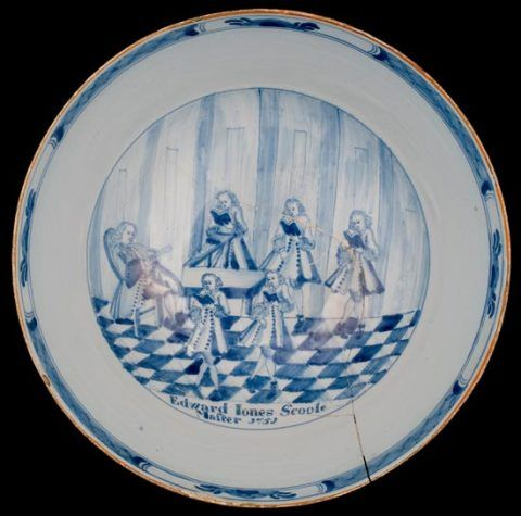 Delftware punch bowl inscribed 'Edward Jones Scoole Master 1751'