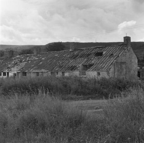 Rhyd-y-car houses in Merthyr Tydfil, prior to removal to St Fagans National Museum of History