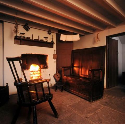 Interior of the 1805 house, Rhyd-y-car, at St Fagans National History Museum