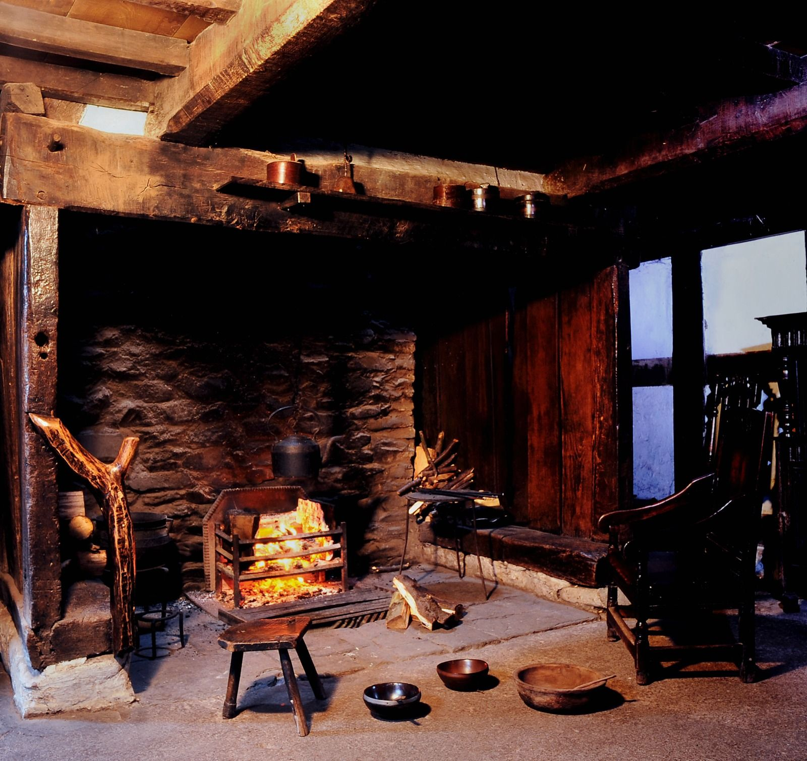 Interior view of Abernodwydd Farmhouse at St Fagans National Museum of History