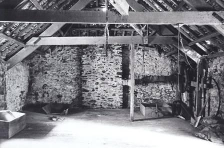 Interior view of the Melin Bompren (cornmill) prior to removal to St Fagans National History Museum