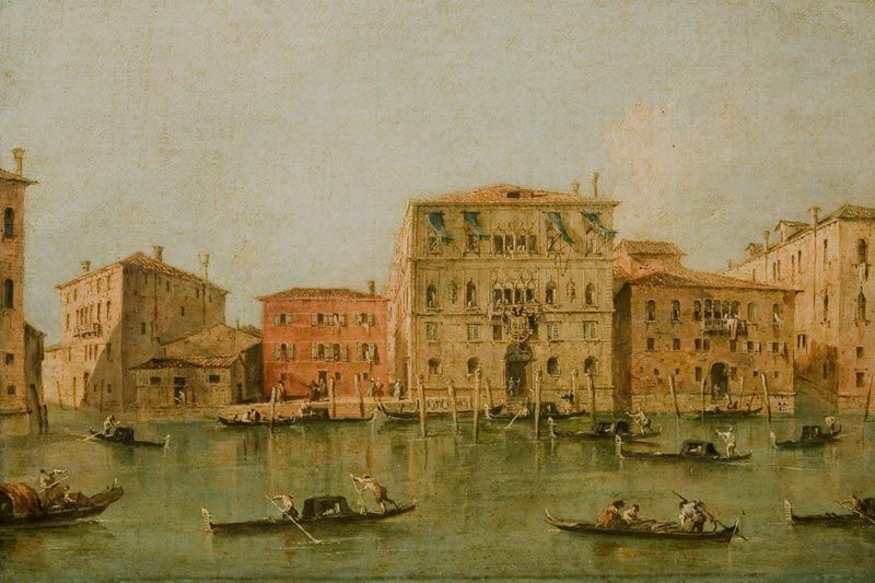 View of the Palazzo Loredan dell'Ambasciatore on the Grand Canal, Venice [before cleaning]