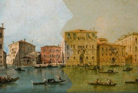 Partially restored image of <em>View of the Palazzo Loredan dell'Ambasciatore on the Grand Canal, Venice</em>