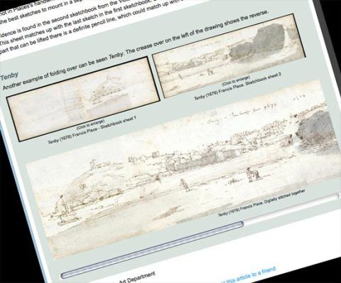 Sketch of Tenby showing original images from sketchbooks and digitally stitched result