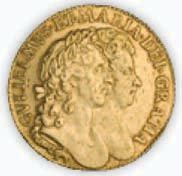 A guinea showing King William III and Queen Mary II, struck in 1694.