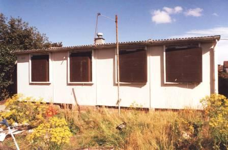 Prefab, prior to removal to St Fagans National History Museum