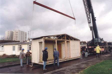Dismantling the Prefab prior to removal to St Fagans National History Museum