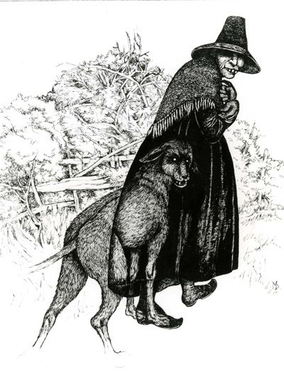 The black dog and the woman in the well. From painting by Margaret D. Jones.