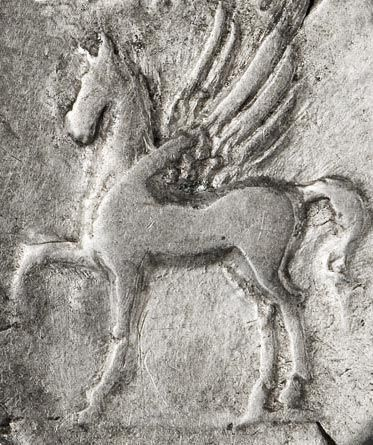 Detail of Pagasus from one of the Roman denarii