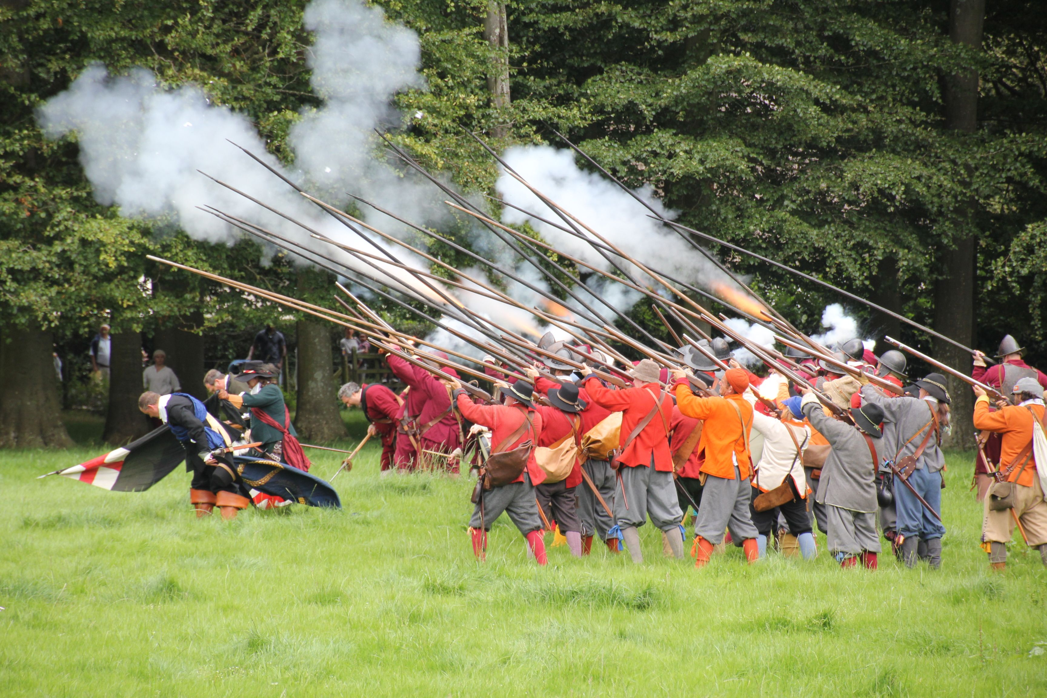 The battle heats up at St Fagans - muskets are fired