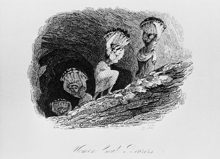 Woman Coal Bearers, East Lothian Coal Mine (line drawing)