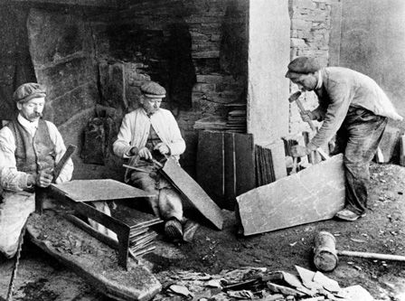 The old style of making roof slates, Penrhyn Slate Quarry