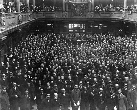 Group on floor of the Coal Exchange in Cardiff after alterations