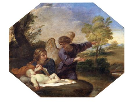 Hagar and Ishmael in the Wilderness (oil on canvas)