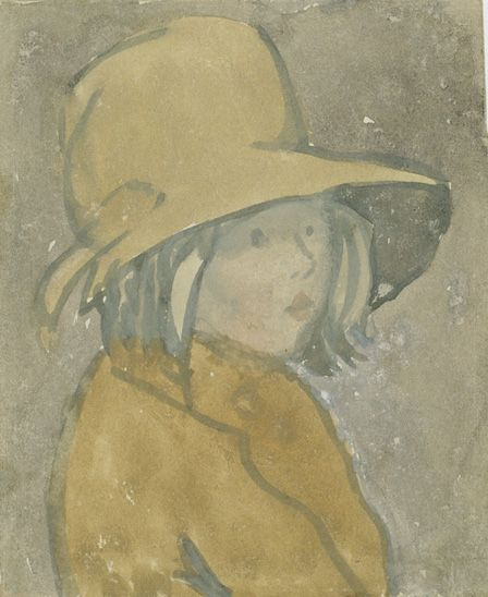 Young girl in brown hat and coat (w/c on paper)