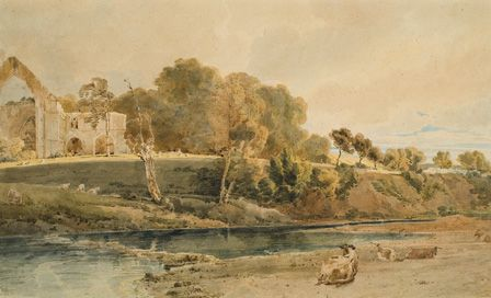 Bolton Abbey, Yorkshire, 1809 (w/c over pencil on card)