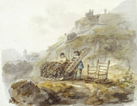 Method of obtaining peat from hills near Mallwyd, c.1792 (w/c, ink and pencil on paper)