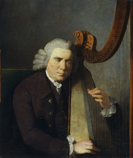 The Blind Harpist, John Parry (oil on canvas)