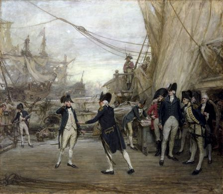 Nelson Received by Admiral Jervis after the Battle of St. Vincent (oil on canvas)