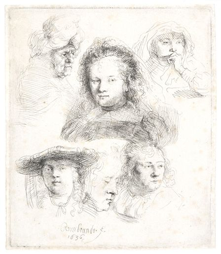 Studies of the Head of Saskia and others, 1636 (etching)