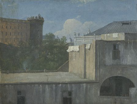 Buildings in Naples with the north-east side of Castel Nuovo,1782 (oil on paper)