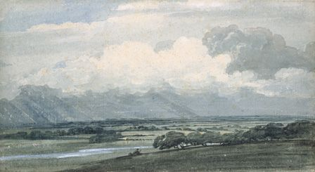 Landscape with Stormy sky, c.1800 (w/c and bodycolour on paper)