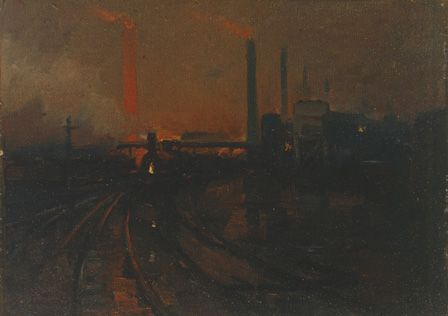 Steel Works, Cardiff at night, 1893-97 (oil on canvas board)