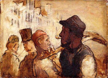 Workmen on the street, 1838-40 (oil on board)