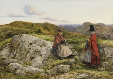 Welsh Landscape with Two women Knitting, 1860 (oil on board)