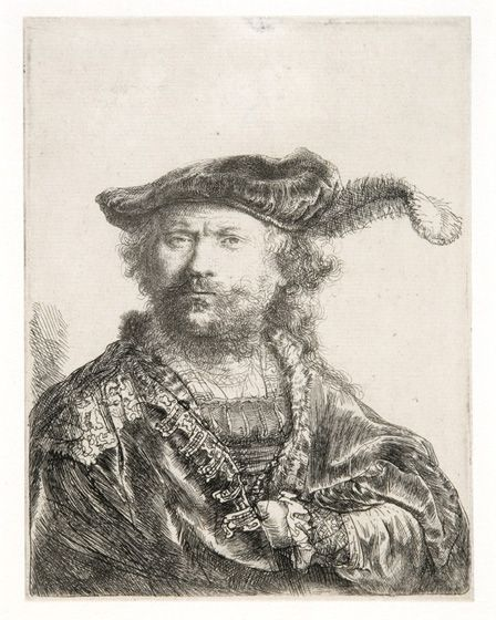 Self Portrait in velvet cap and plume, 1638 (etching)