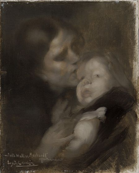Mother and child (oil on canvas)