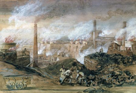 Dowlais Ironworks, 1840 (w/c on paper)