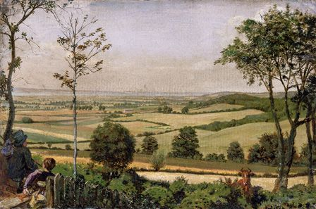 The Medway seen from the shorn Ridgway, Kent 1873 (oil on board)