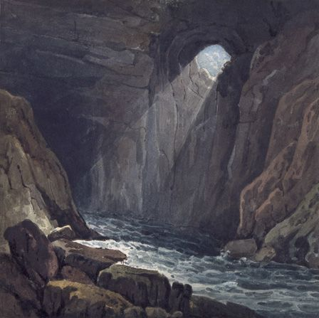 Interior of the Cave at Porth yr Ogof 1816 (w/c on paper on card)
