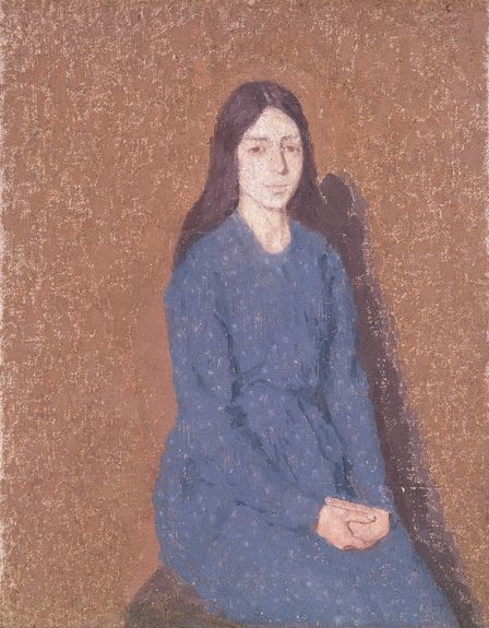 Girl in a Blue Dress (oil on canvas)