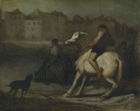 The Watering Place, Bank of the Seine, c.1855 (oil on board)