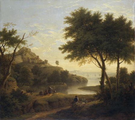 Landscape near a coastal inlet, 1763 (oil on canvas)