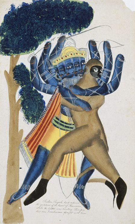 Ravana the demon king of Ceylon fighting the son of Hanuman (w/c on paper)