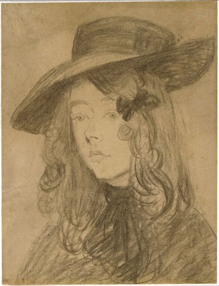 Winifred John in a large hat (charcoal on paper)