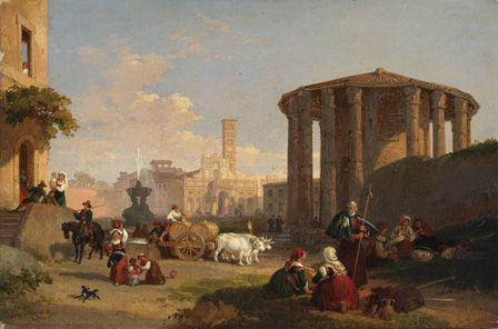 The Temple of Vesta, the Piazza di Bocca di Verita (oil on canvas)