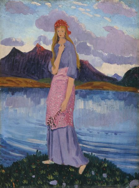 Girl standing by a lake (oil on panel)