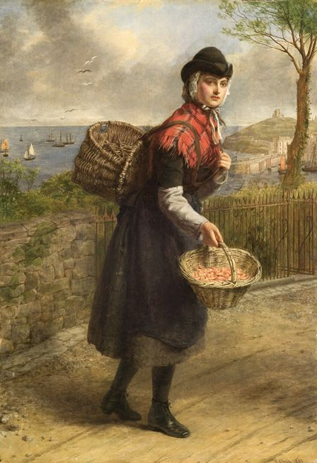 Tenby Prawn Seller, 1880 (oil on canvas)