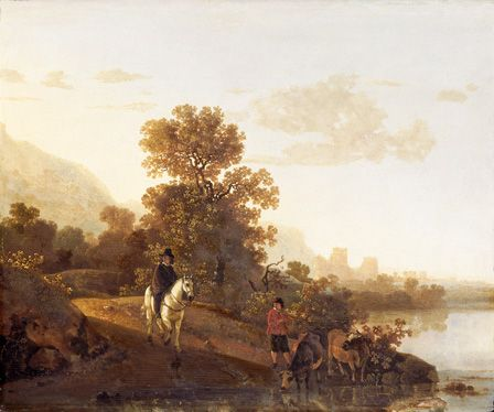 Landscape with Ubbergen Castle (oil on board)
