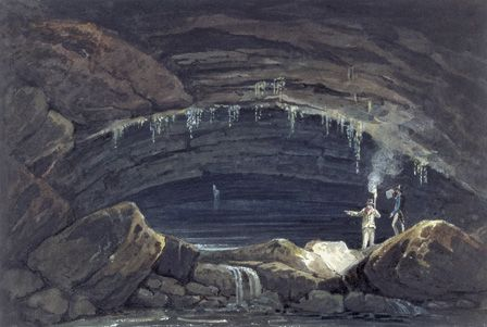 Opening of the cave at Porth yr Ogof (w/c on paper)