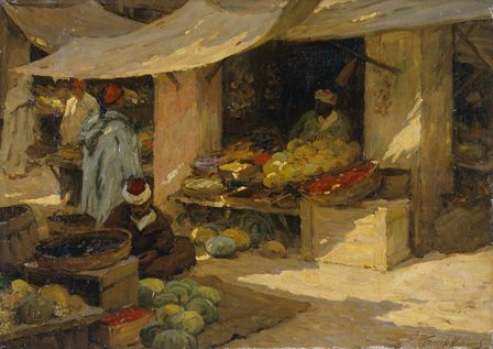 Fruit market, Tangier ( Oil on canvas)